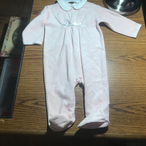 Ralph Lauren pink fuzzy footed sleeper 6-9M NWT